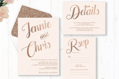 Etsy finds rose gold wedding stationery from thegirlandthedress