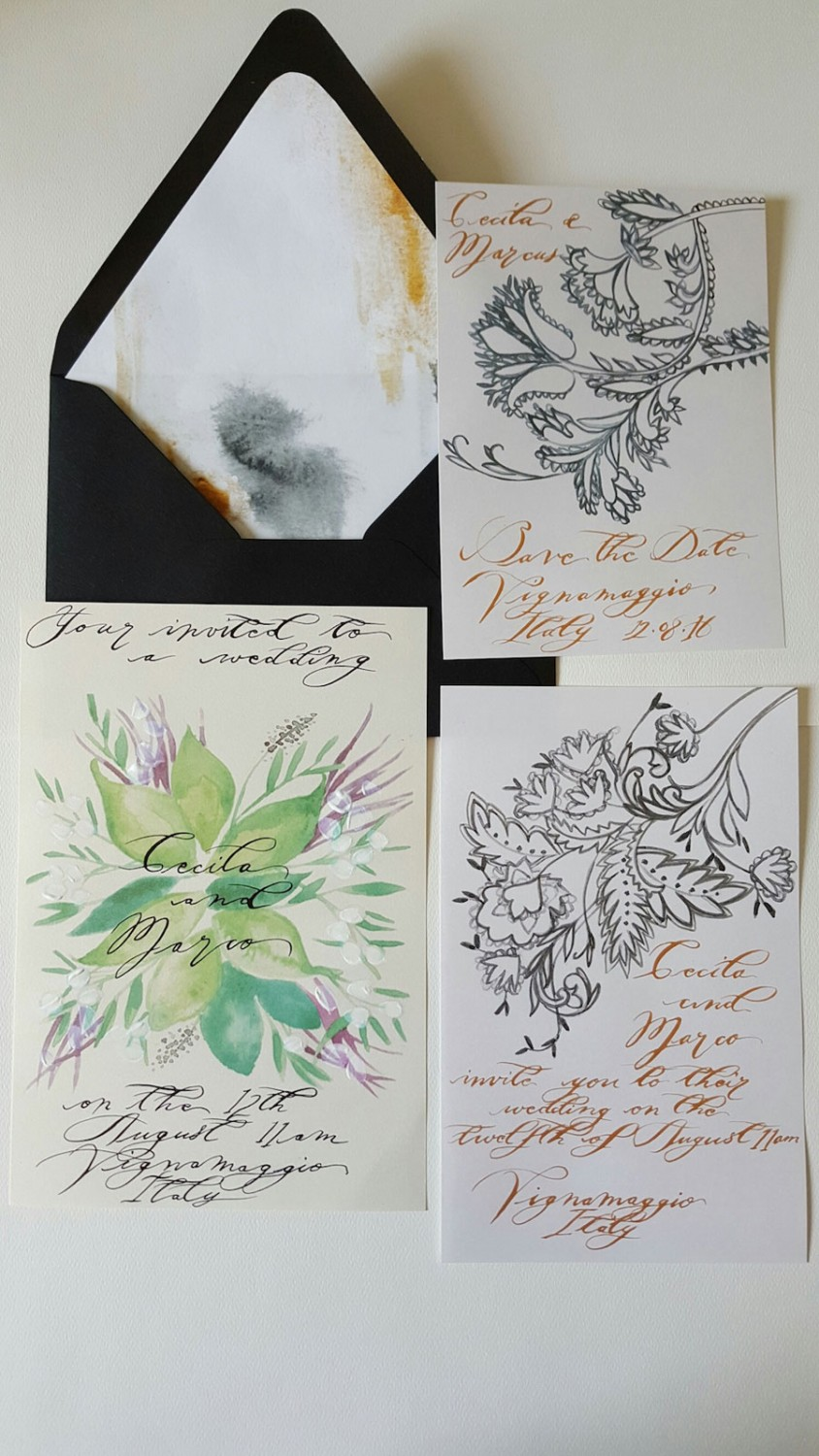 Wedding-invitations-with-calligraphy