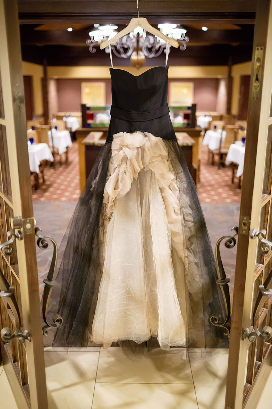 Dark Sparkly Halloween Wedding With Black Vera Wang Wedding Gown