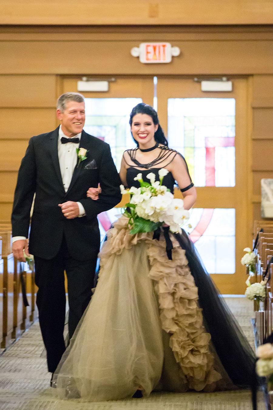 Dark & Sparkly Halloween Wedding With Black Vera Wang Wedding Gown!
