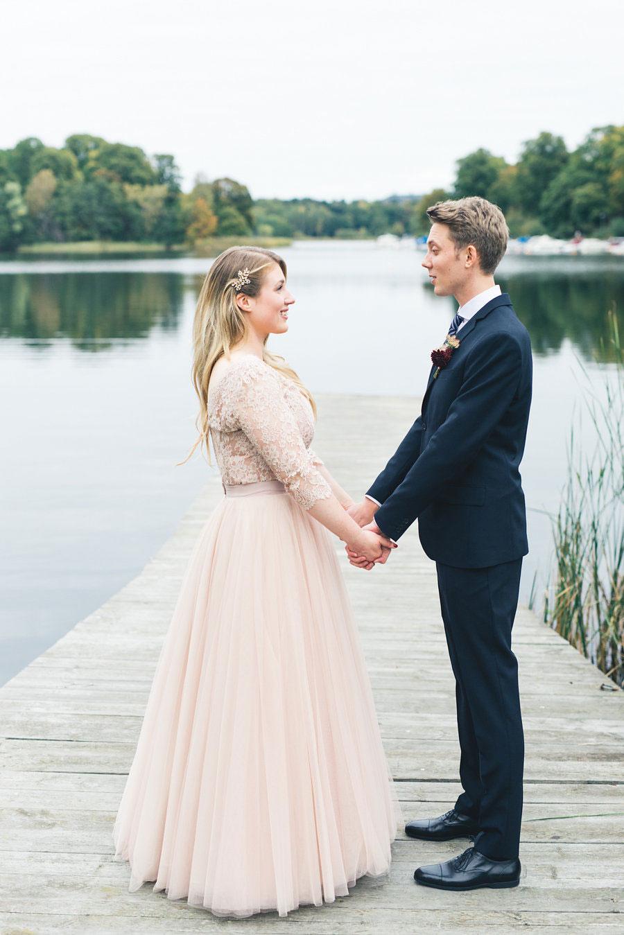 Beautiful Blush Bridal Separates For A Candlelit Autumn Wedding ...