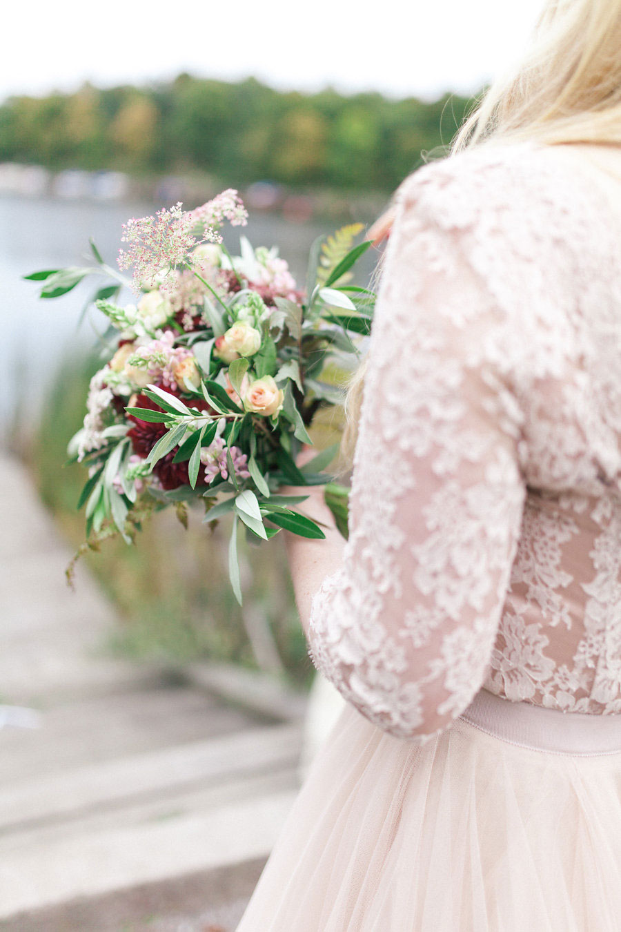 Beautiful Blush Bridal Separates For A Candlelit Autumn Wedding: Danielle & Anton