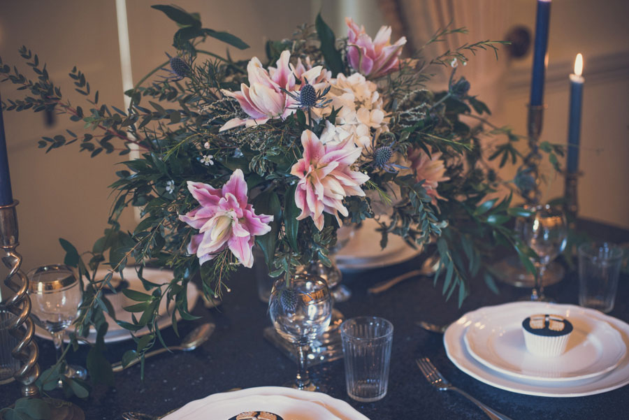 Glamorous 1930s House Party Wedding Shoot in Navy, Pink & Gold023