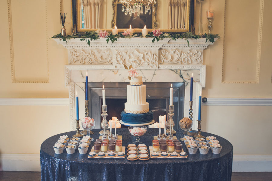 Glamorous 1930s House Party Wedding Shoot in Navy, Pink & Gold045