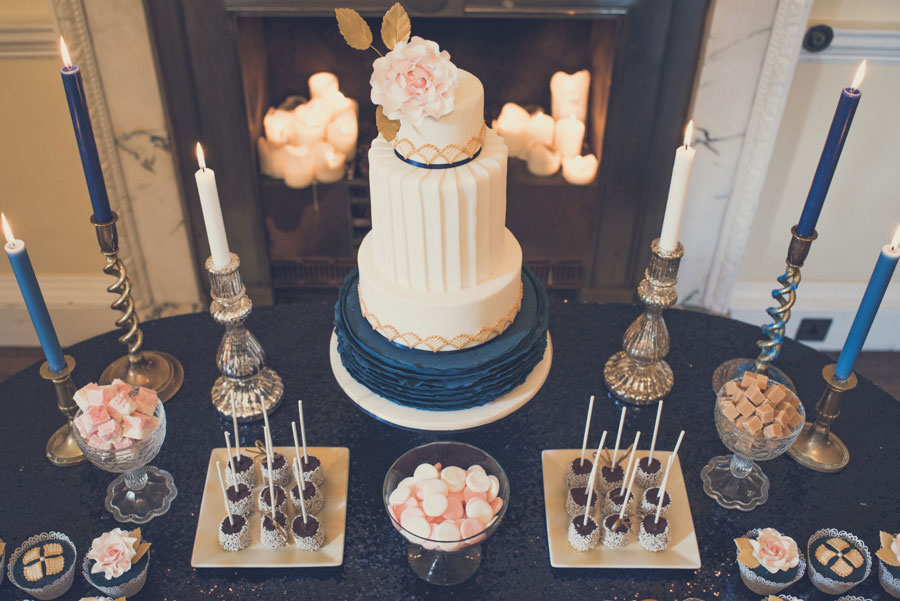 Glamorous 1930s House Party Wedding Shoot in Navy, Pink & Gold046