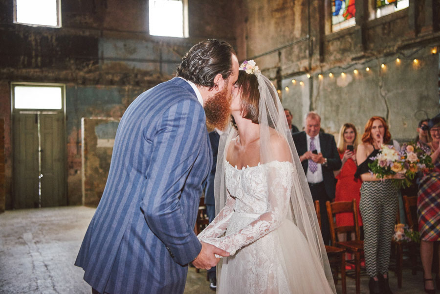Stunning Off The Shoulder Lace Wedding Dress & Alternative Decaying Chapel Venue Wedding- Ella & Daniel042