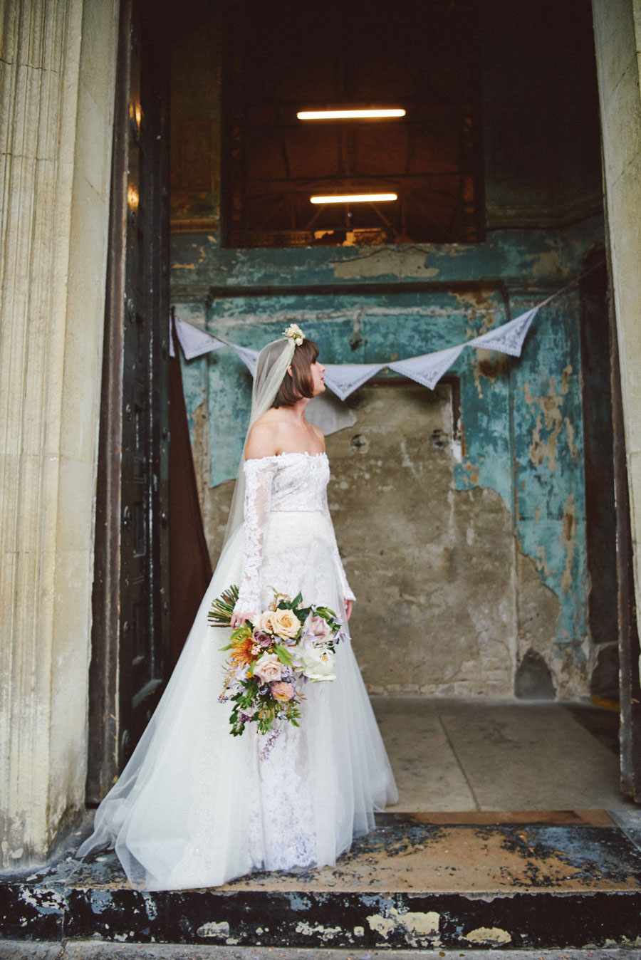 Stunning Off The Shoulder Lace Wedding Dress & Alternative Decaying Chapel Venue Wedding- Ella & Daniel069
