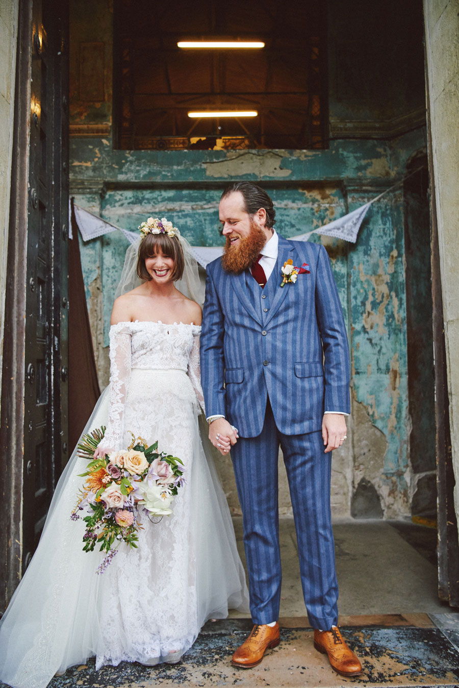 Stunning Off The Shoulder Lace Wedding Dress & Alternative Decaying Chapel Venue Wedding- Ella & Daniel072