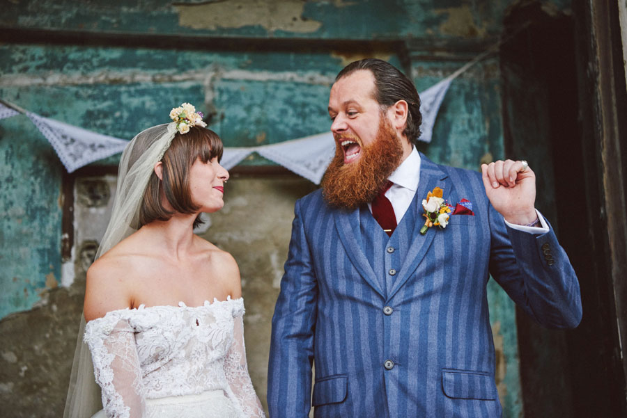 Stunning Off The Shoulder Lace Wedding Dress & Alternative Decaying Chapel Venue Wedding- Ella & Daniel073