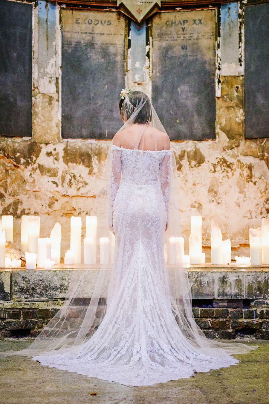 Stunning Off The Shoulder Lace Wedding Dress & Alternative Decaying Chapel Venue Wedding- Ella & Daniel106