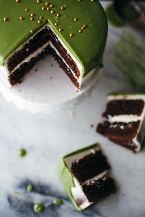 matcha greenery cake