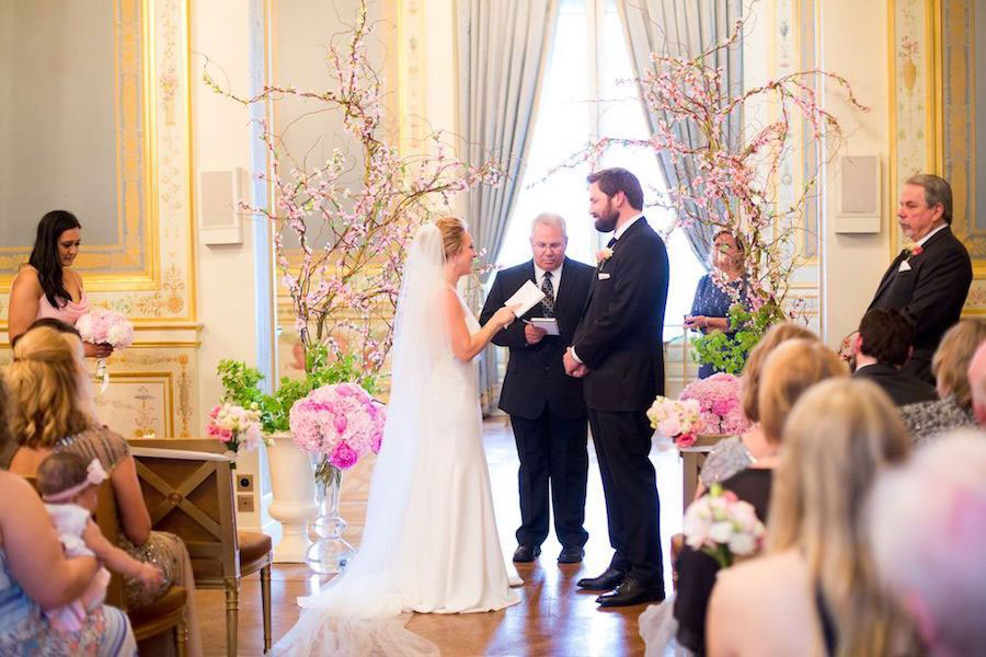 Parisian Pink & Gold Wedding With Pretty Cherry Blossom Arch0007