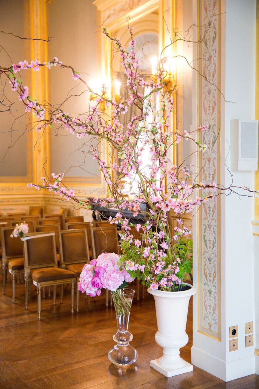 Parisian Pink & Gold Wedding With Pretty Cherry Blossom Arch0010
