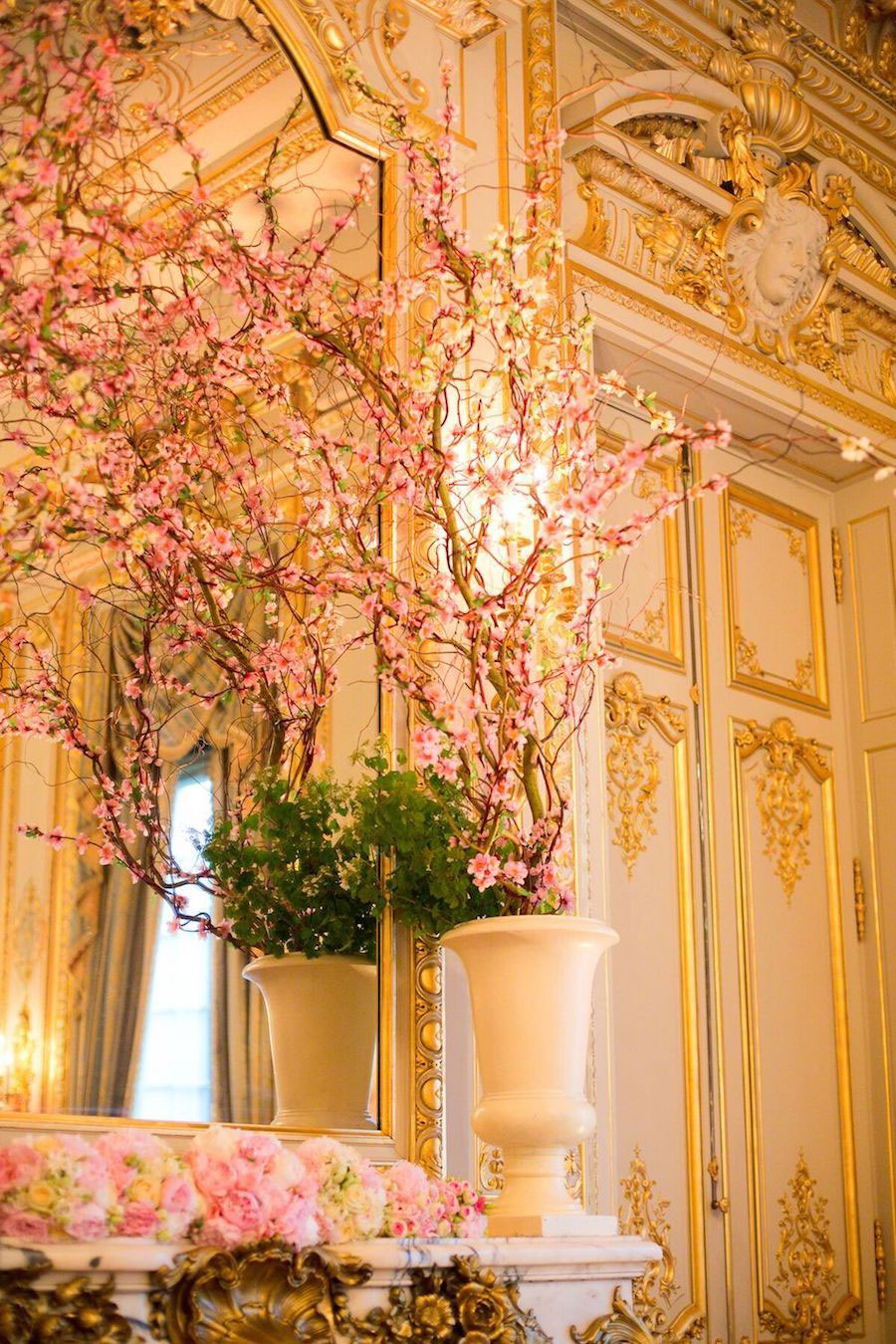 Parisian Pink & Gold Wedding With Pretty Cherry Blossom Arch0013