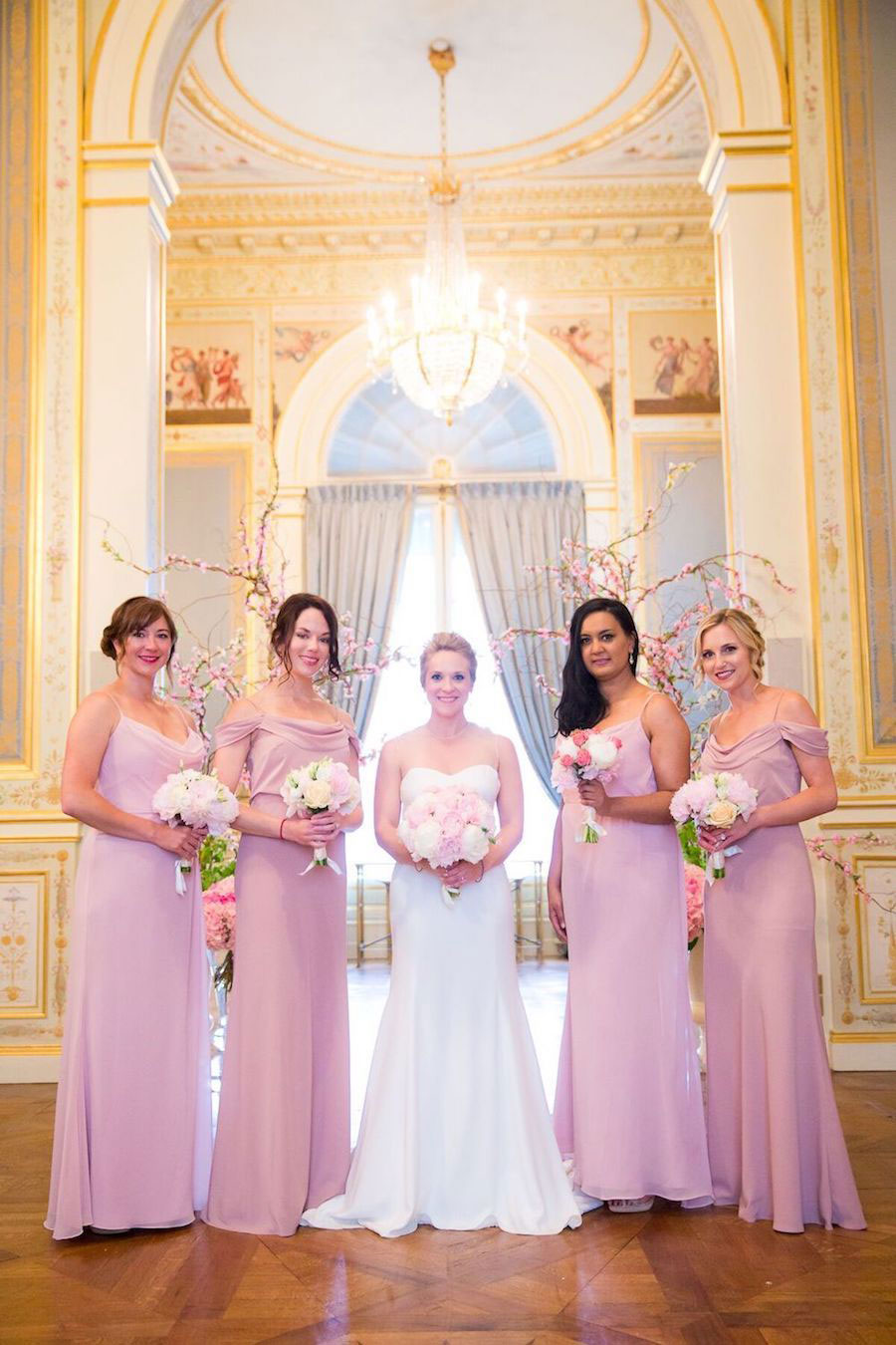 Parisian Pink & Gold Wedding With Pretty Cherry Blossom Arch0030