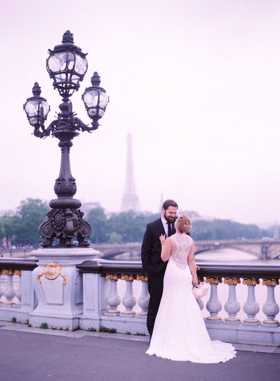 Parisian Pink & Gold Wedding With Pretty Cherry Blossom Arch0094