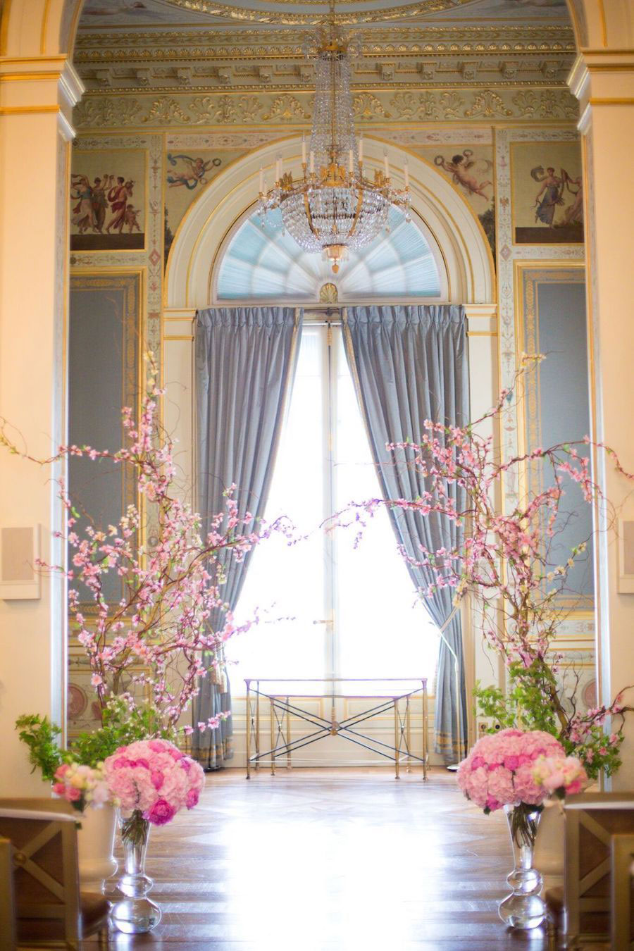 Parisian Pink & Gold Wedding With Pretty Cherry Blossom Arch0104