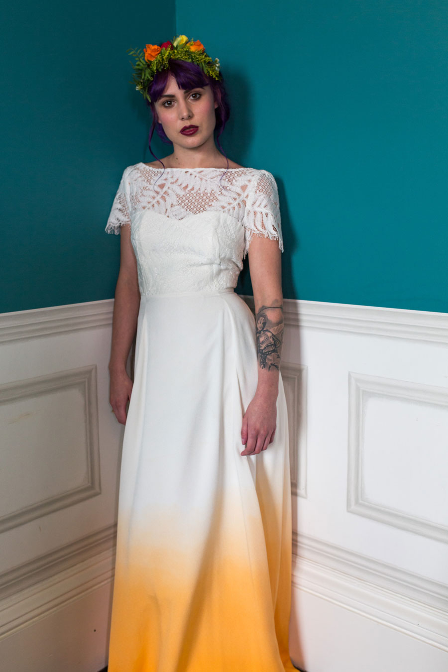 Colourful quirky wedding dresses for non traditional for Non wedding dresses for brides