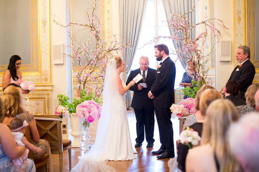 Parisian Pink & Gold Wedding With Pretty Cherry Blossom Aisle: Jacqueline & John