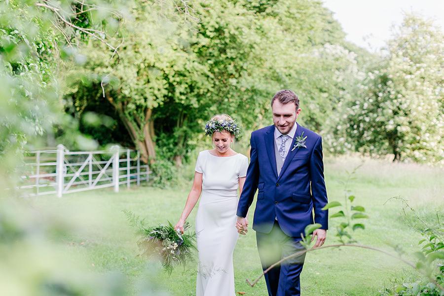 Relaxed Riverside Wedding With Bride Wearing Incredible Wildflowers Crown: Joss & Tim