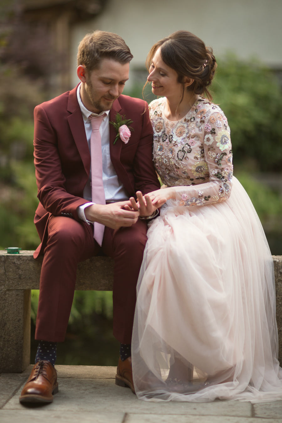 Floral Needle & Thread Wedding Gown For An Oriental Garden Wedding: Alice & Matthew