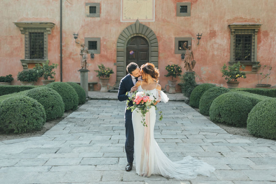 Peach & Coral, An Intimate Elopement in Tuscany: Tanya & Maciej
