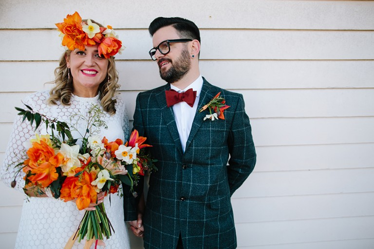 Literary Themed Vintage Wedding With Bold & Vibrant Orange Flowers: Anna & Simon