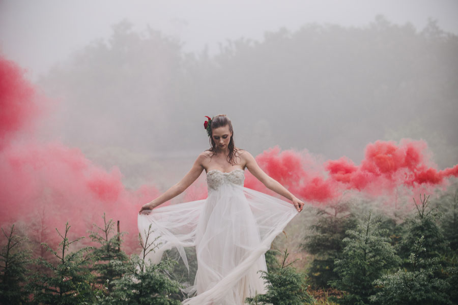 Moody & Ethereal Inspired Bridal Shoot on a Christmas Tree Farm!