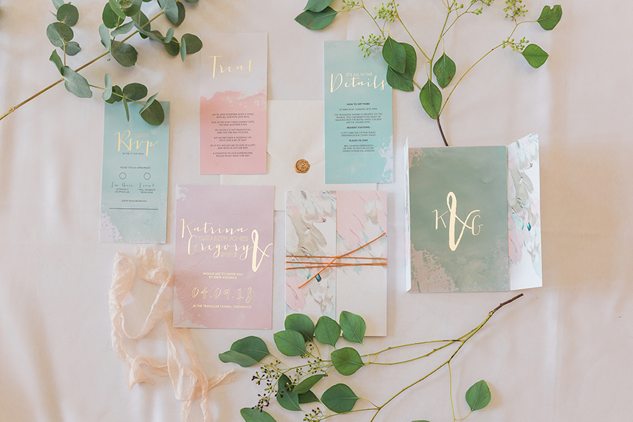 beautiful pastel wedding stationery