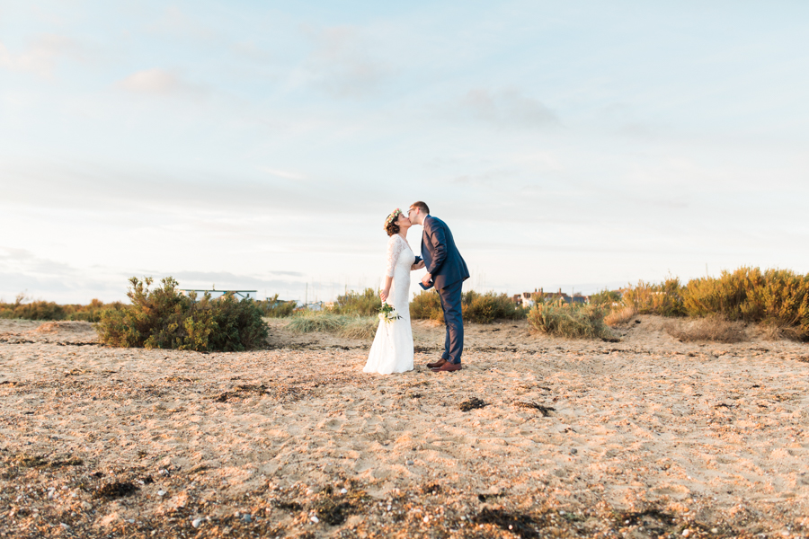 Winter Beach Wedding with Traditional Hawaiian Flower Crown: Megan & Callum