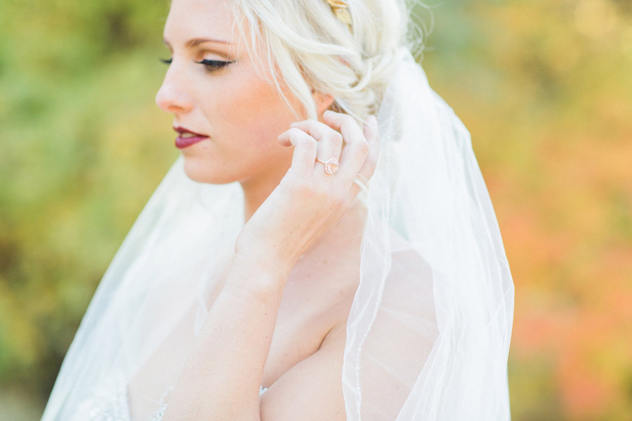 Vibrantly Rich Forest Editorial Bride with ring
