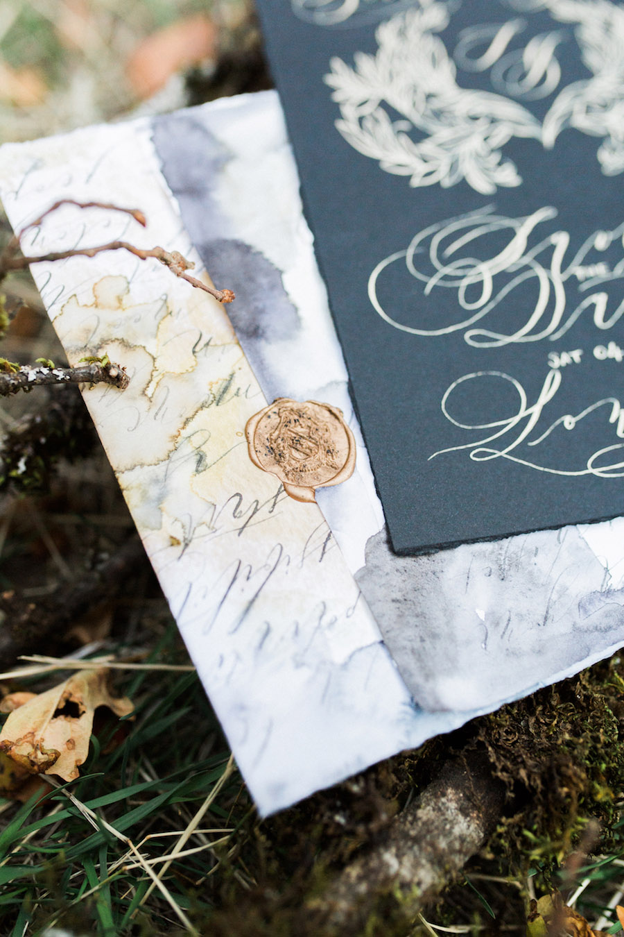 Vibrantly Rich Forest Editorial black wedding save the date corner