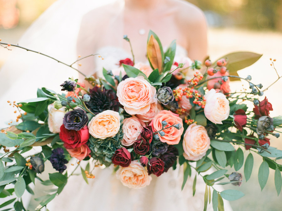 Vibrantly Rich Forest Editorial bouquet with long view