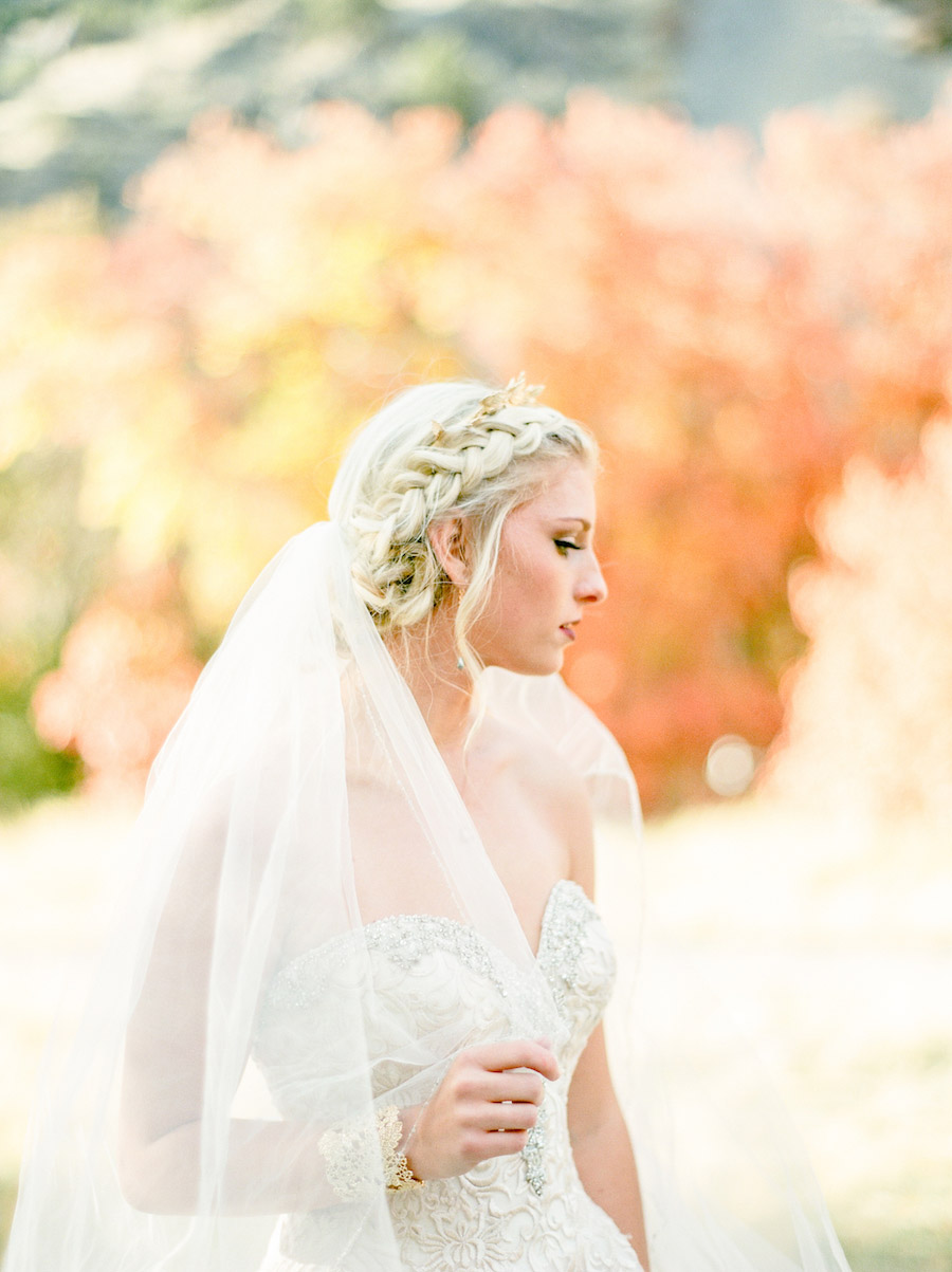 Vibrantly Rich Forest Editorial bride an an angle