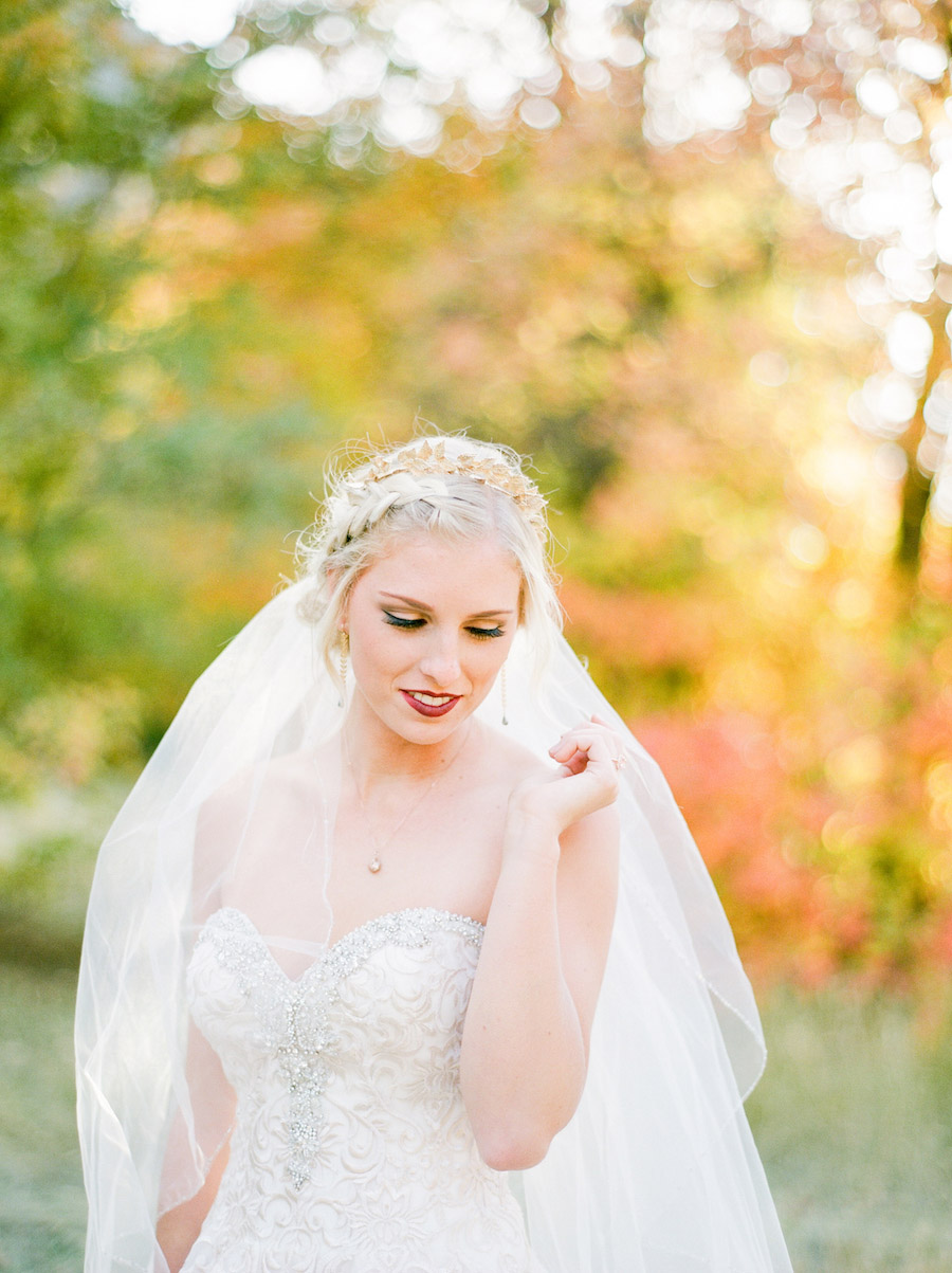 Vibrantly Rich Forest Editorial bride gazing down