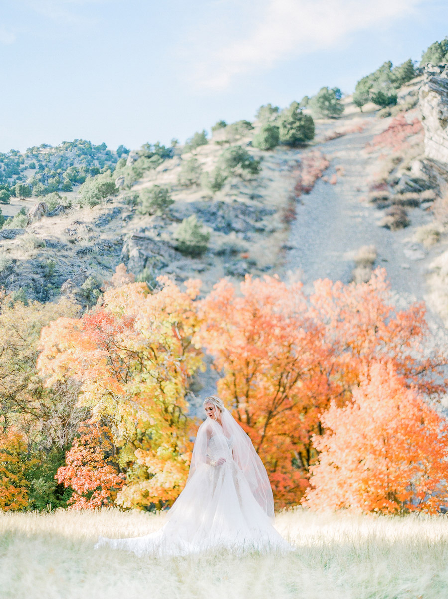 Vibrantly Rich Forest Editorial bride infront of bright orange trees