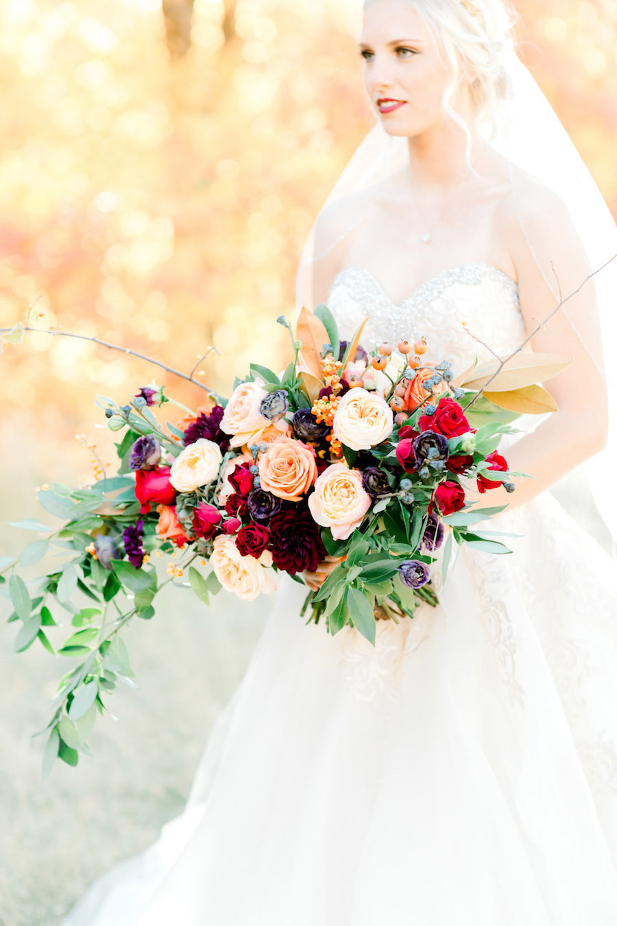 Vibrantly Rich Forest Editorial bride with bouquet