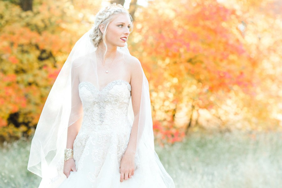 Vibrantly Rich Forest Editorial bride with bracelet