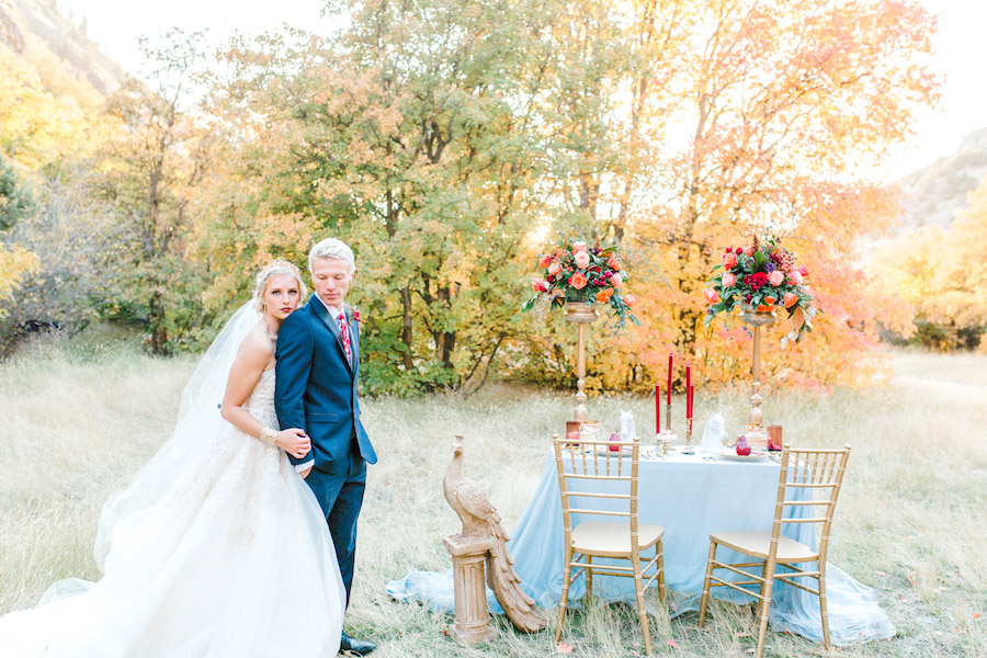 Vibrantly Rich Forest Editorial couple with tablescape