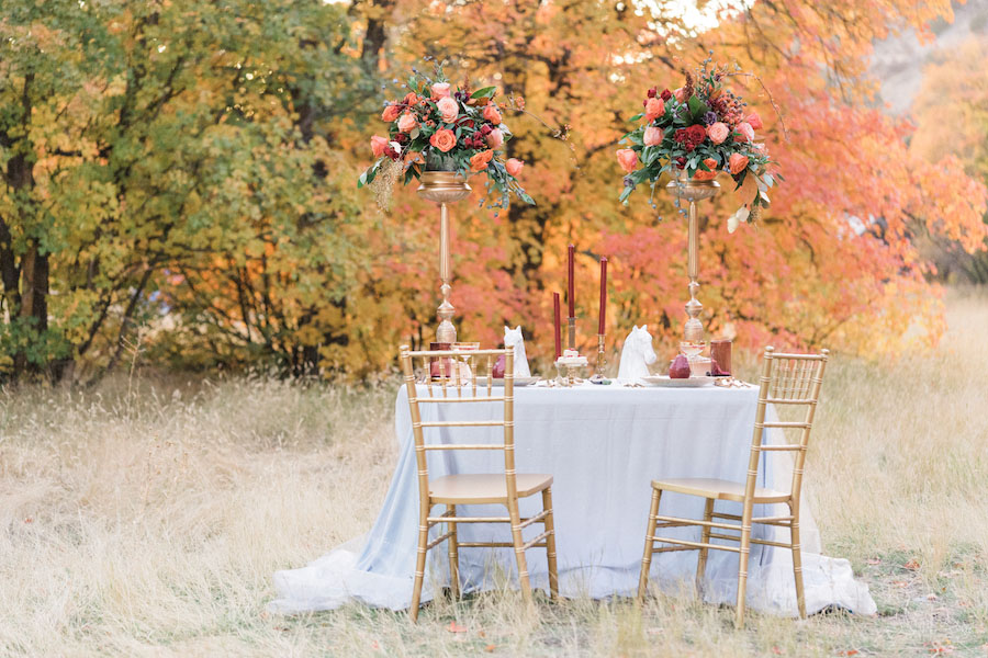 Vibrantly Rich Forest Editorial table setting idea with gold chairs