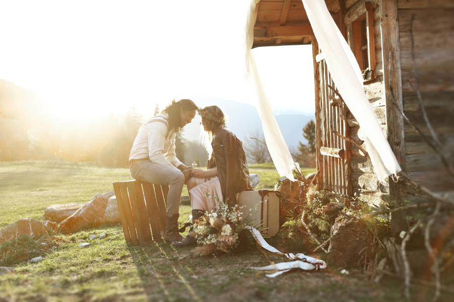 An Alpine Elopement at Sunset: Succulents, Leather and Mountain Views