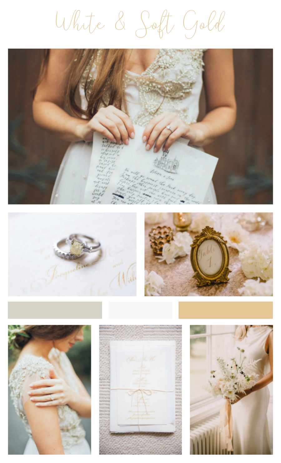 White and Soft Gold Wedding Inspiration for Spring