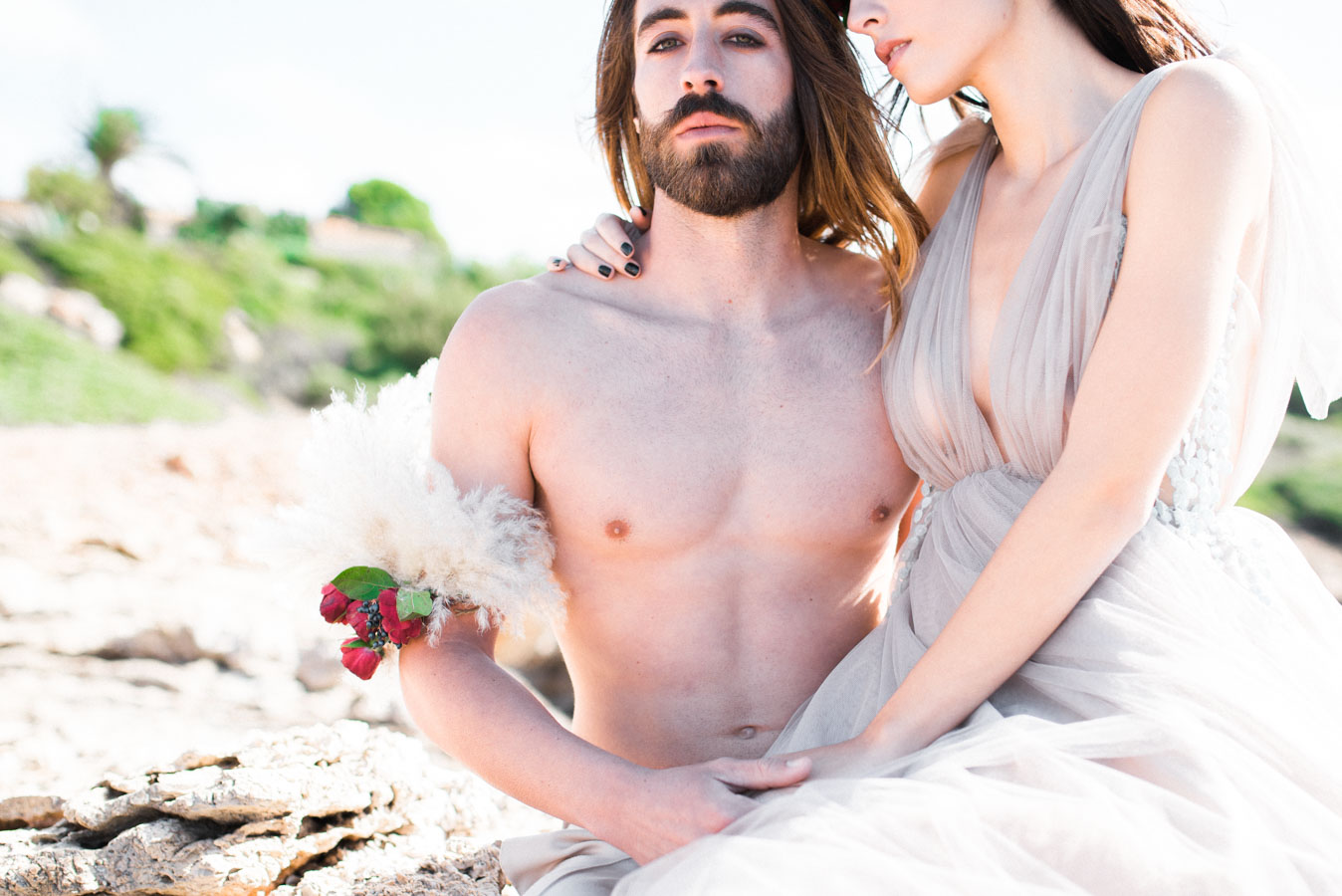 Hippie Bohemian Wedding Inspiration in Sounio, Greece
