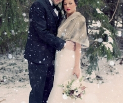 Amazing Woodsy Winter Wedding, Complete With Snowman & Pops of Caspian Blue: Ashley & Jeff