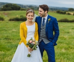 Blue & Mustard Rustic Wedding With 50s Dress & 1000 Origami Cranes: Kirsty & Paul