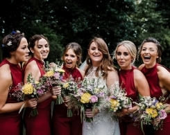 A Yolan Cris Wedding Dress & Red Bridesmaid Jumpsuits Real Wedding: Lauren & Joe