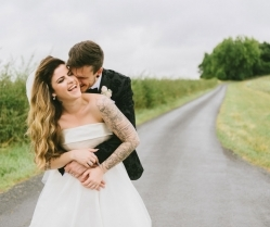 Romantic Blush Wedding With Quirky Details & Gorgeous Tattooed Bride!