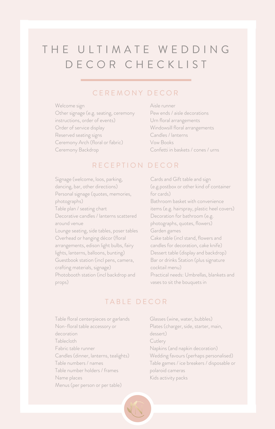 The ultimate wedding decor checklist leaving no stone unturned decor items for your day then please get in touch for a chat i would love to talk through your plans and help to create the wedding of your dreams junglespirit Gallery