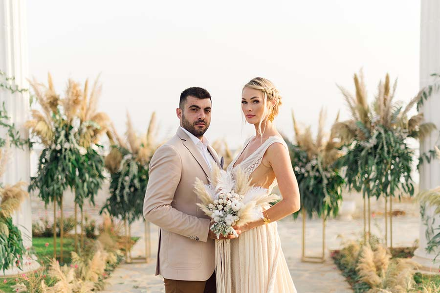 Intimate 2nd Wedding in Greece with Beautiful Pampas Grass Decor: Alena & Michail